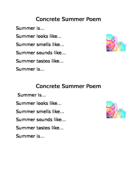Summer Concrete Shape Poem Prompt