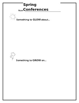 Spring Conference Glow and Grow Sheet
