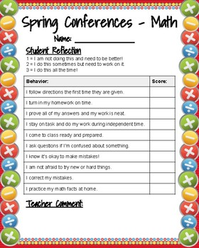 Spring Conference - Student Math Reflection