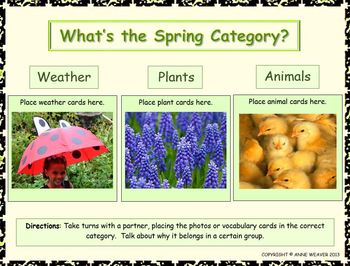 Spring Connections/Photos, Vocabulary, Printables and Activities