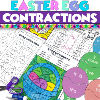Spring Contractions Literacy Center PLUS 2 Worksheets - Easter Eggs