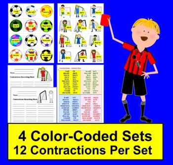 Contractions Soccer  ★ 48 Pairs of Contractions & Their Components