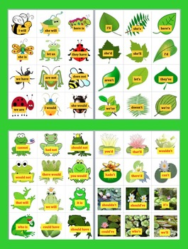 Contractions Literacy Centers Spring Themed - 4 Sets - 48 Pairs-Common Core