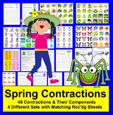Contractions Literacy Centers Spring Themed - 4 Sets - 48