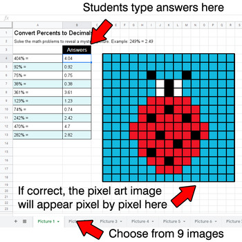 Spring - Convert Percents to Decimals - Google Sheets Pixel Art