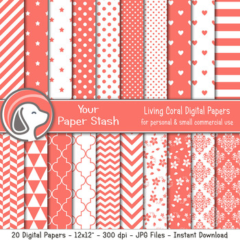 Spring Coral Digital Paper Pack w/ Stripes Chevrons Polka Dot & Heart Patterns