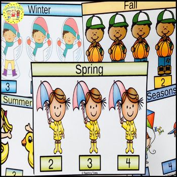 Spring Count and Clip Seasons Task Cards