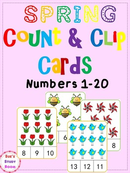 Spring Count and Clip Cards: Numbers 1-20