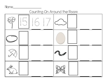 Spring Count the Room Teen Numbers (Write the Room)