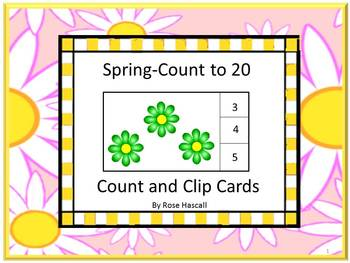 Task Cards Spring Count to 20 Count and Clip Cards.