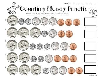 Spring Counting Money Practice Worksheet