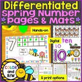 Spring Number Mats & Differentiated Counting Pages Numbers 1-20, Print & Digital