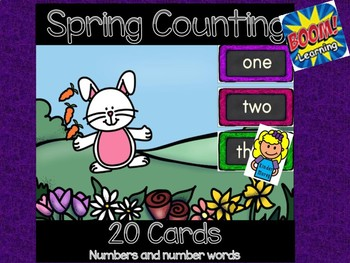 Spring Counting-Numerals and Number Words 0-10: Digital Task Cards  Boom Cards