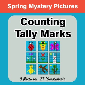Spring: Counting Tally Marks - Math Mystery Pictures / Color By Number
