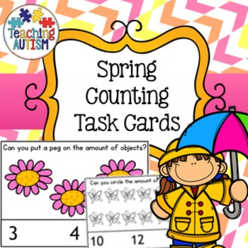 Spring Counting Task Cards, Math Activity