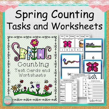 Spring Counting Task Cards and Worksheets