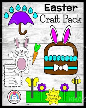 Spring Craft Pack: Umbrella Name, Shape Bunny, Name Easter Eggs, Spring Hat