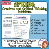 Spring Worksheets for Higher Level Thinking Distance Learning