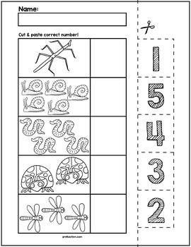 Spring Creepy Crawlers Cut & Match Worksheets | Numbers 1-5
