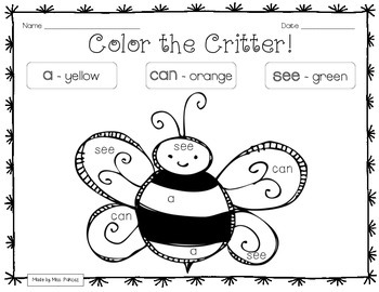 SPRING CRITTERS - PrePrimer - Color By Sight Word Printables