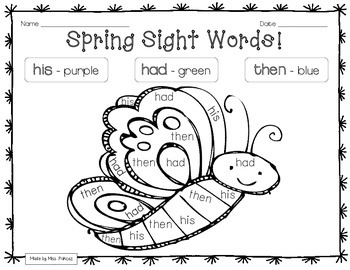 graphic about Color by Sight Word Printable called SPRING CRITTERS - Quality 1 - Colour Through Sight Phrase Printables