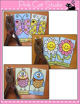 Spring Activities Punch Cards: Butterfly, Caterpillar, Ladybug, Bird, Flower