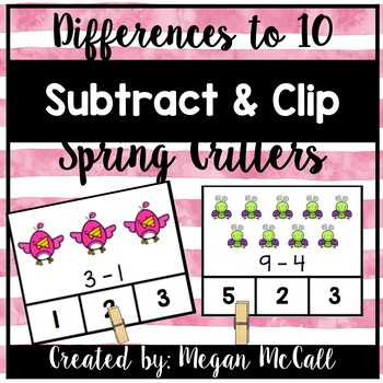 Spring Critters Subtract and Clip (Within 10)