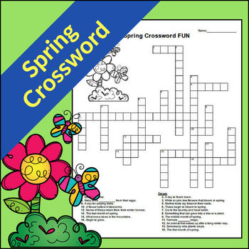 photo regarding Spring Crossword Puzzle Printable referred to as Spring Crossword Worksheets Training Materials TpT