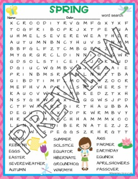Spring Activities Crossword Puzzle and Word Search Find