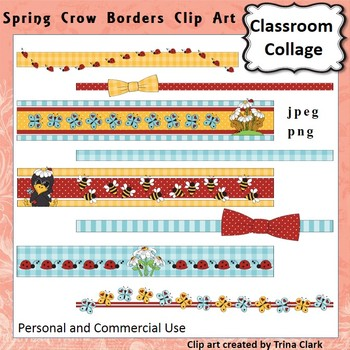 Spring Ribbons Border Clip Art Color personal & commercial use