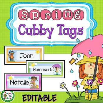 Spring Cubby or Desk Name Tags with butterflies, bugs, kit