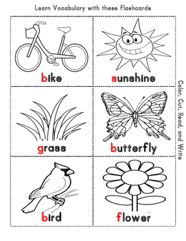Spring Cut, Color, Read, and Write mini flashcards