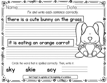 Spring Daily Language FREEBIE! Kindergarten and First Grade