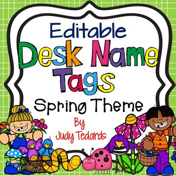 Spring Desk Name Tags...Editable