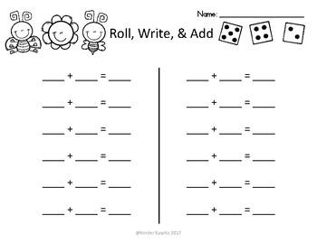 Spring Roll, Write, & Add Printable