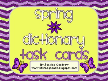 Spring Dictionary Skills/ABC Order Task Cards