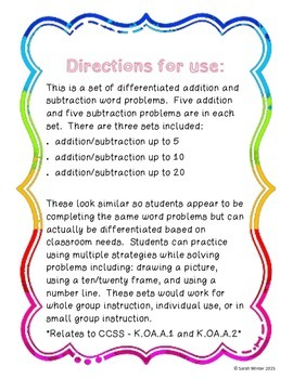 Spring Math Word Problems Pack