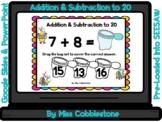 Spring Digital Math Activity-Addition & Subtraction to 20 (SEESAW,GOOGLE SLIDES)