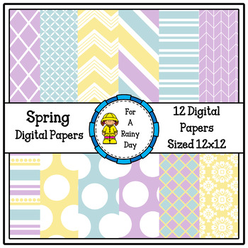 Spring Digital Paper (Blue, Yellow, & Purple)