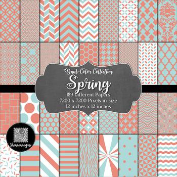 12x12 Digital Paper - Color Scheme Collection: Spring (600dpi)