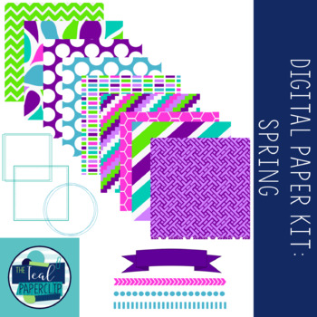 Digital Paper Kit: Spring Papers, Borders, Frames