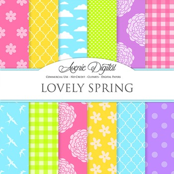 Spring Digital Paper Background Easter patterns polkadots stripes flowers