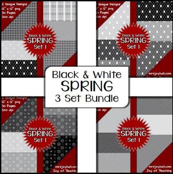 Spring Digital Papers - Black and White BUNDLE