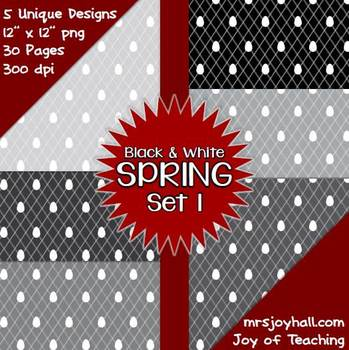 Spring Digital Papers - Black and White Set 1