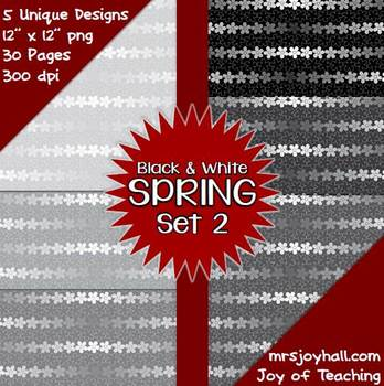 Spring Digital Papers - Black and White Set 2