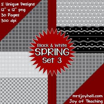 Spring Digital Papers - Black and White Set 3
