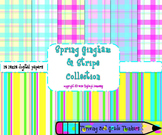 Spring Digital Papers, Bright Stripe and Gingham