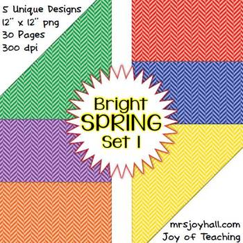 Spring Digital Papers - Brights Set 1