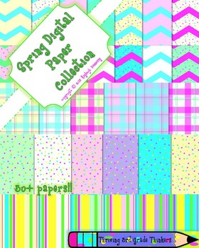 Spring Digital Papers Collection!! Chevron, Polka Dot, Stripe, and Gingham!!