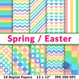 Spring Digital Papers, Easter Digital Papers, Spring Patte